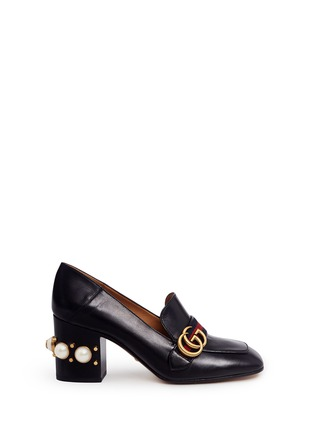 Main View - Click To Enlarge - Gucci - Stripe faux pearl stud leather loafers