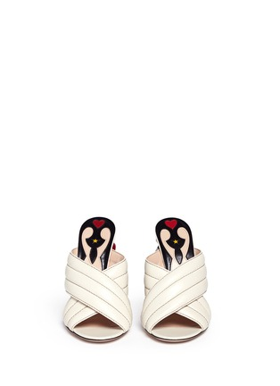 Front View - Click To Enlarge - Gucci - Stud snake heel ribbed leather sandals