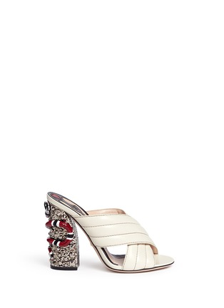 Main View - Click To Enlarge - Gucci - Stud snake heel ribbed leather sandals