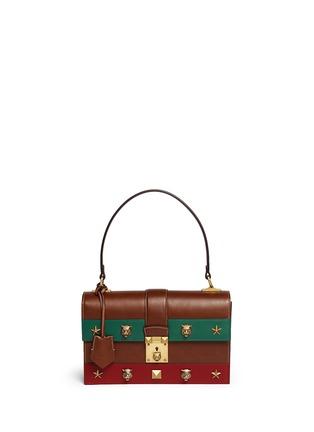Main View - Click To Enlarge - Gucci - Cat Lock' stud stripe leather handbag