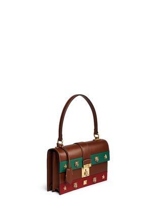 Figure View - Click To Enlarge - Gucci - Cat Lock' stud stripe leather handbag