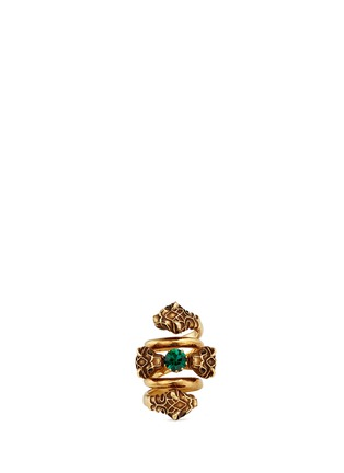Main View - Click To Enlarge - Gucci - Tiger head double wrap coil ring