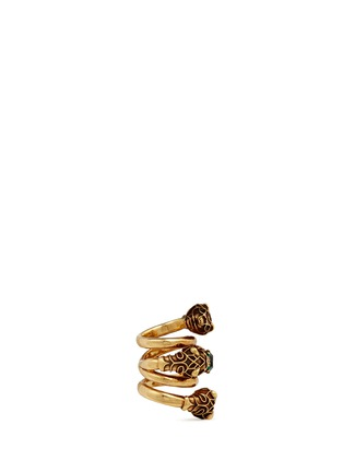 Figure View - Click To Enlarge - Gucci - Tiger head double wrap coil ring