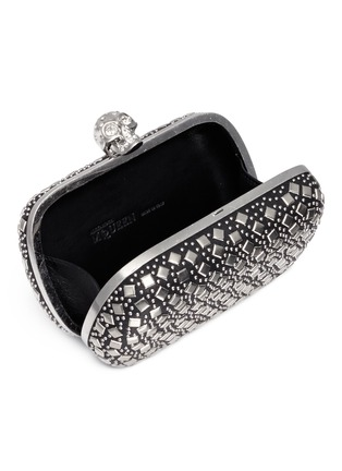 Detail View - Click To Enlarge - Alexander McQueen - Stud skull leather box clutch