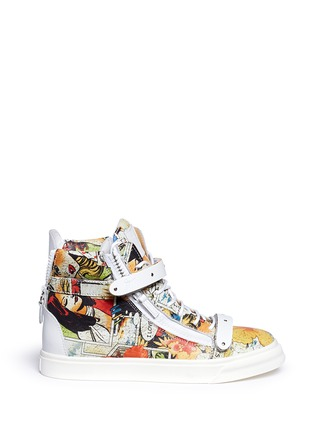 Main View - Click To Enlarge - Giuseppe Zanotti Design - 'London' comic strip print leather high top sneakers