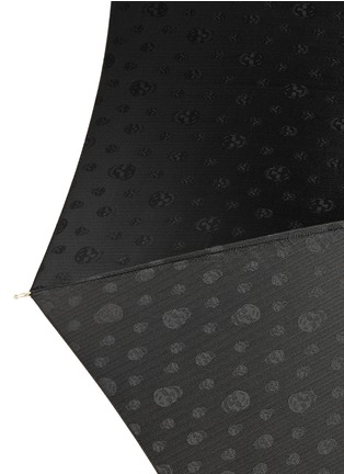 Detail View - Click To Enlarge - Alexander McQueen - Skull jacquard leather handle umbrella