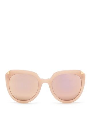 Main View - Click To Enlarge - Stephane + Christian - 'Moka' acetate round cat eye mirror sunglasses