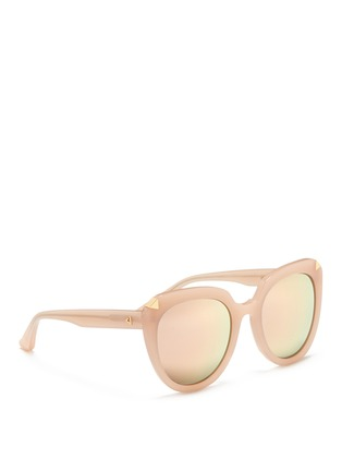 Figure View - Click To Enlarge - Stephane + Christian - 'Moka' acetate round cat eye mirror sunglasses