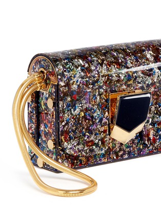 Detail View - Click To Enlarge - Jimmy Choo - 'Lockett' confetti glitter acrylic clutch