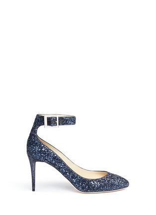 Main View - Click To Enlarge - Jimmy Choo - 'Helena' ankle strap coarse glitter pumps