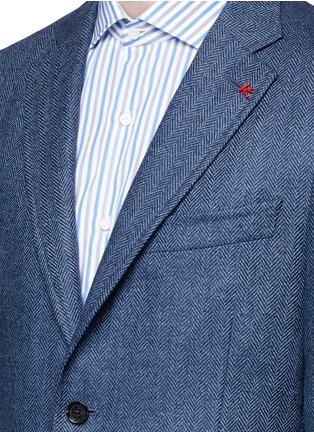 Detail View - Click To Enlarge - ISAIA - 'Cortina' herringbone wool blazer