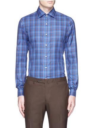 Main View - Click To Enlarge - ISAIA - 'Como' check cotton shirt