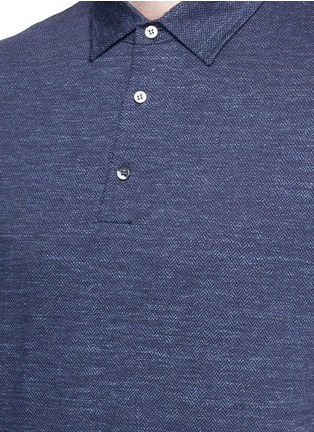 Detail View - Click To Enlarge - ISAIA - Cotton herringbone polo shirt