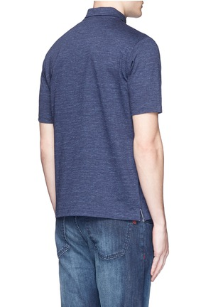 Back View - Click To Enlarge - ISAIA - Cotton herringbone polo shirt