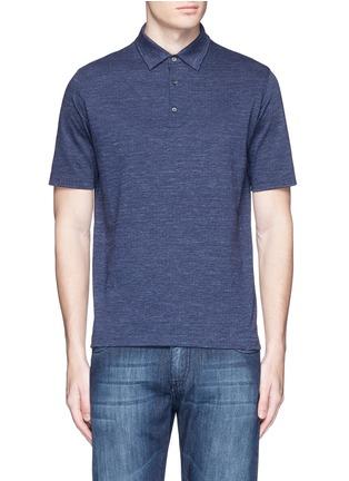 Main View - Click To Enlarge - ISAIA - Cotton herringbone polo shirt