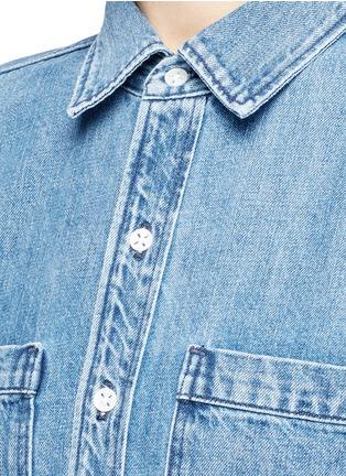 Detail View - Click To Enlarge - 3x1 - 'WD' fringe hem denim shirt dress