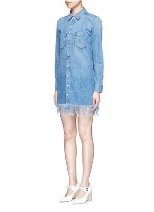 Front View - Click To Enlarge - 3x1 - 'WD' fringe hem denim shirt dress