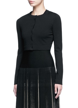 Front View - Click To Enlarge - Alaïa - 'Supreme' cropped wool blend cardigan