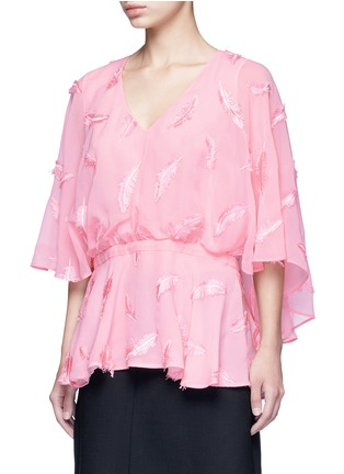 Front View - Click To Enlarge - Emilio Pucci - Feather embroidery batwing cape top