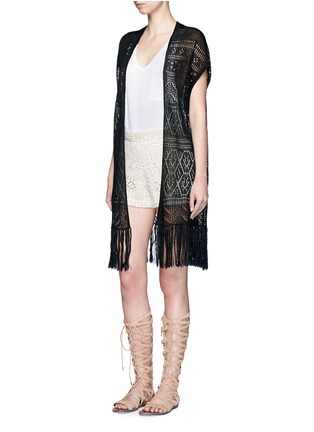 Figure View - Click To Enlarge - ALICE + OLIVIA - Open front tassel eyelet knit vest