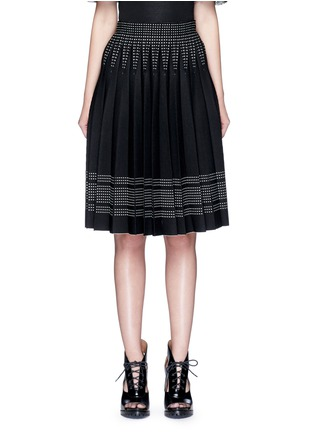 Main View - Click To Enlarge - Alexander McQueen - Geometric jacquard pleated knit skirt