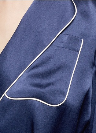 Detail View - Click To Enlarge - Chloé - Waist sash piped satin pyjama top