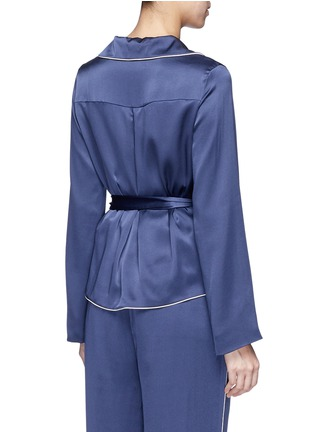 Back View - Click To Enlarge - Chloé - Waist sash piped satin pyjama top