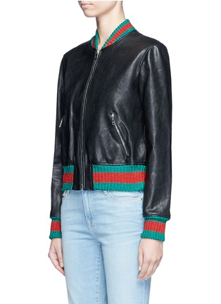 Front View - Click To Enlarge - GUCCI - Tiger embroidery leather bomber jacket