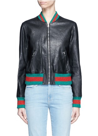Main View - Click To Enlarge - GUCCI - Tiger embroidery leather bomber jacket
