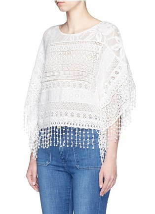 Front View - Click To Enlarge - alice + olivia - 'Danette' guipure lace poncho top