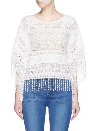 Main View - Click To Enlarge - alice + olivia - 'Danette' guipure lace poncho top