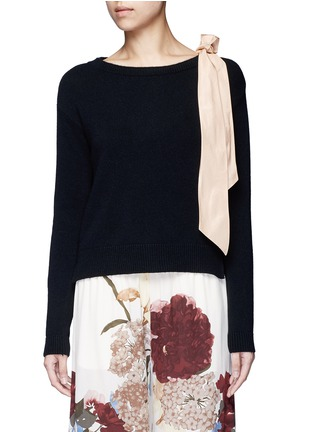 Main View - Click To Enlarge - Valentino - Contrast silk sash cashmere blend sweater