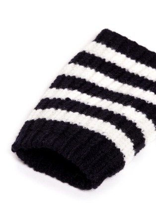 Detail View - Click To Enlarge - Gucci - Stripe wool knit fingerless gloves