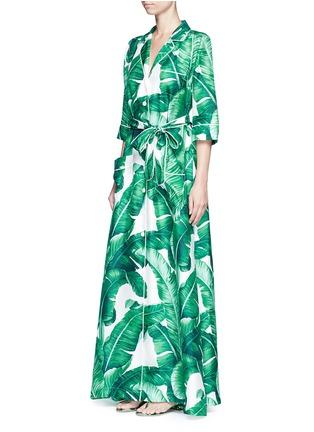 Front View - Click To Enlarge - Dolce & Gabbana - Banana leaf print silk twill maxi dress