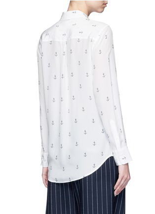 Back View - Click To Enlarge - Equipment - 'Slim Signature' anchor print silk shirt