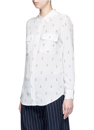 Front View - Click To Enlarge - Equipment - 'Slim Signature' anchor print silk shirt