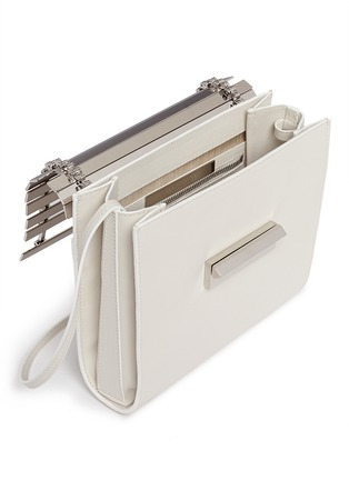 Detail View - Click To Enlarge - Eddie Borgo - 'Colt' aluminium bar flap leather crossbody
