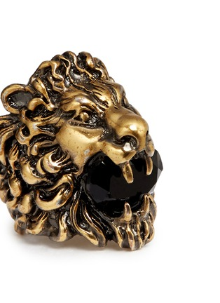 Detail View - Click To Enlarge - Gucci - Lion head crystal cocktail ring