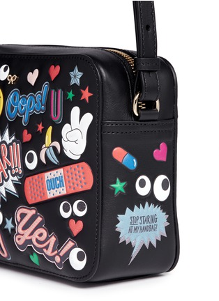 Detail View - Click To Enlarge - Anya Hindmarch - 'All Over Stickers' embossed leather crossbody bag