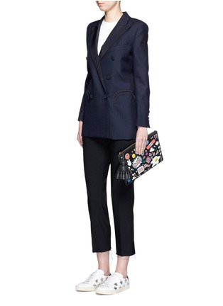 Figure View - Click To Enlarge - Anya Hindmarch - 'All Over Georgiana' embossed leather tassel clutch