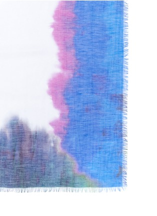Detail View - Click To Enlarge - Franco Ferrari - 'Rieti' watercolour effect border modal-linen-silk scarf