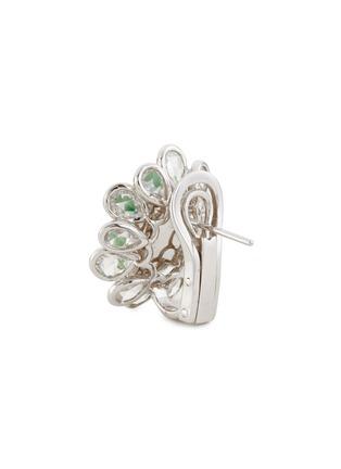 Detail View - Click To Enlarge - SAMUEL KUNG - Diamond jade 18k white gold earrings