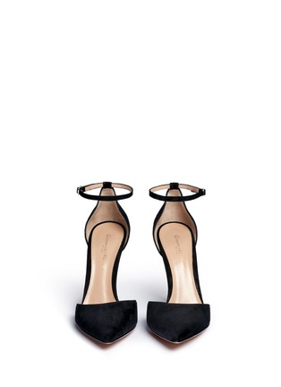 Front View - Click To Enlarge - GIANVITO ROSSI - Ankle strap suede d'Orsay pumps