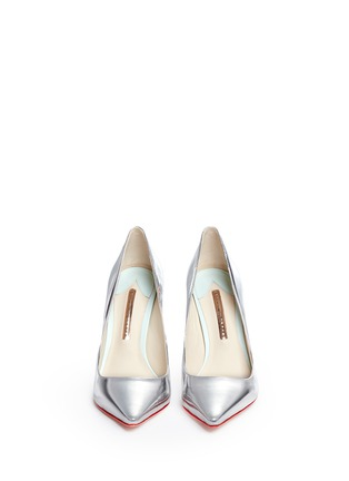 Front View - Click To Enlarge - Sophia Webster - 'Coco Flamingo' metallic mirror leather pumps
