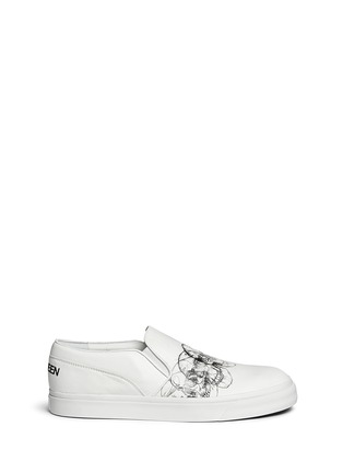 Main View - Click To Enlarge - Alexander McQueen - Skull sketch leather skate slip-ons