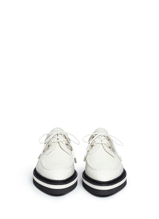Front View - Click To Enlarge - Alexander McQueen - Woven trim leather creeper shoes