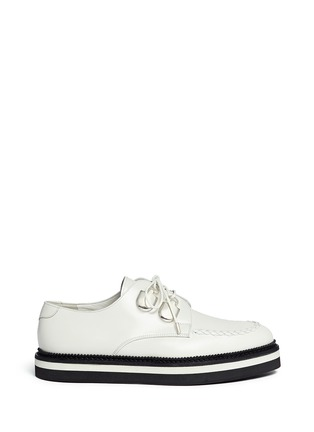 Main View - Click To Enlarge - Alexander McQueen - Woven trim leather creeper shoes