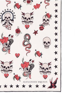 Detail View - Click To Enlarge - Alexander McQueen - Skull tattoo silk twill scarf
