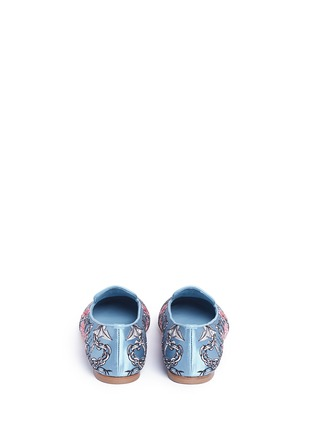 Back View - Click To Enlarge - Alexander McQueen - Poppy skull embroidery Duchesse satin flats