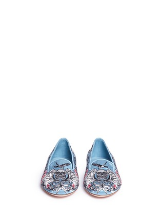 Front View - Click To Enlarge - Alexander McQueen - Poppy skull embroidery Duchesse satin flats